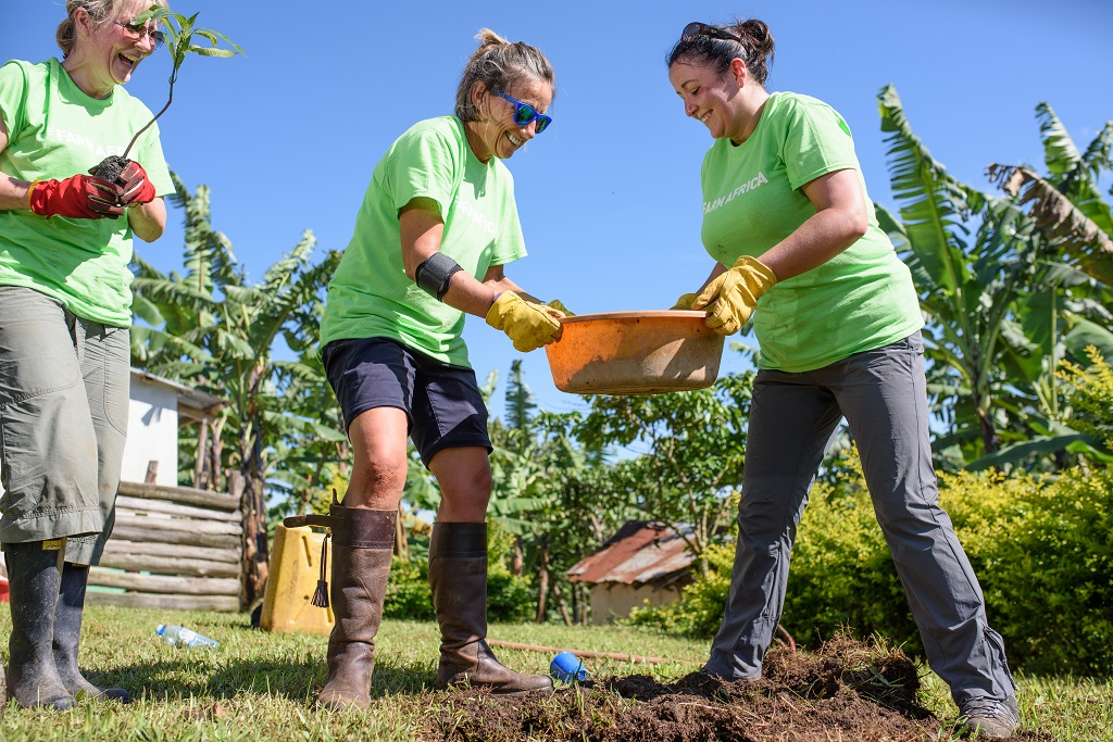 Teamwork makes the dream work for Team Avocado, working together to plant fruit trees.