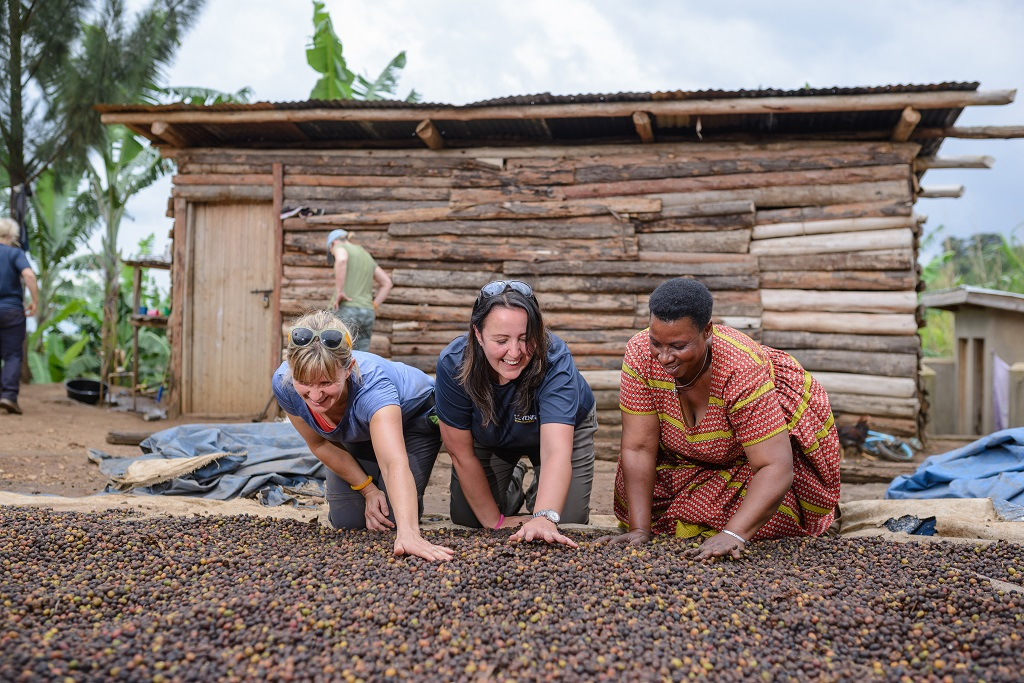 Rachel Baldwin (left) and Marian Scott (centre) take a look at newly harvested coffee cherries.