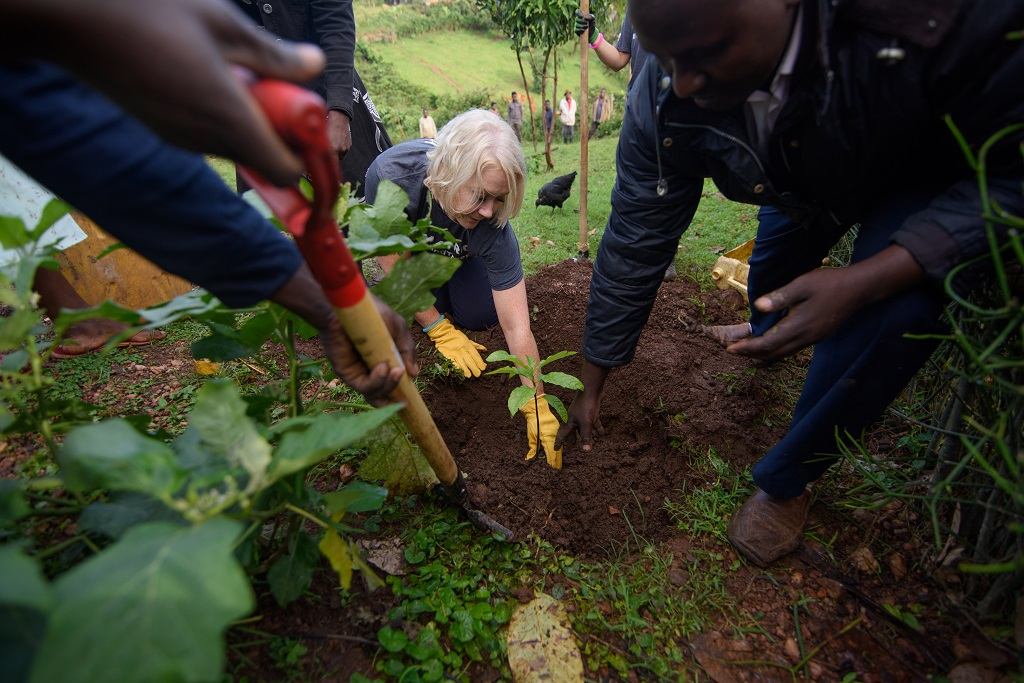Michelle Burke of Devenish Nutrition planting trees as part of the Thousand Trees challenge in Uganda.