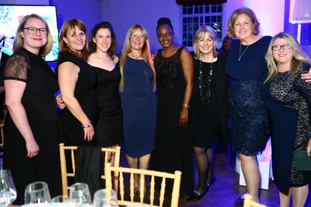 Beatrice Merian Muliahela, Programme Manager at Farm Africa Tanzania (fourth from right), pictured at The Farm Africa Gala Dinner 2018, held at One Marylebone with participants in Farm Africa's Big Beehive Build 2017.