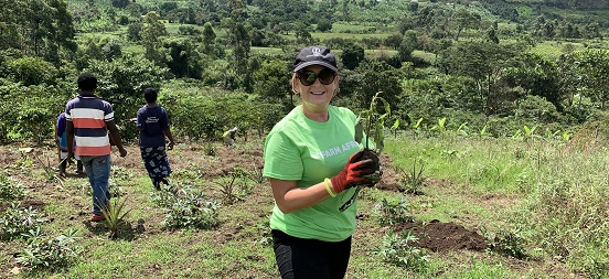 Jenni Gowdy taking part in Farm Africa's Thousand Trees challenge in Uganda