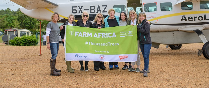 The Thousand Trees Challenge team on arrival in Uganda. L-r: Susie McIntyre, Sarah Louise Fairburn, Michelle Burke, Jenni Gowdy, Helen Brierley, Marian Scott, Frances Swallow, Rachel Baldwin