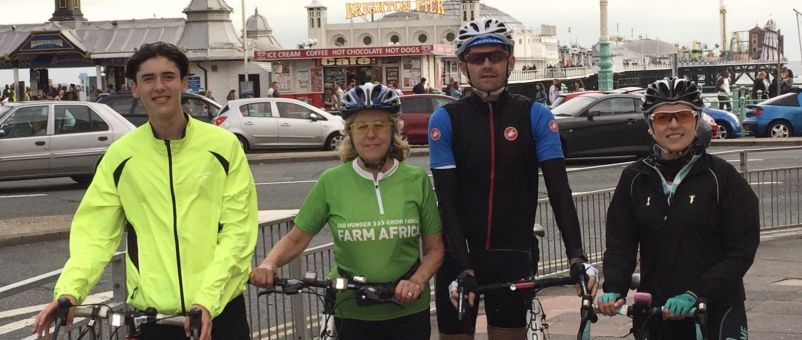 Rosie in Brighton, having completed the 50-mile cycle