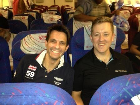 Paulo de Tarso (left) and Ashley Palmer-Watts settle back into their seats for the flight to Nairobi