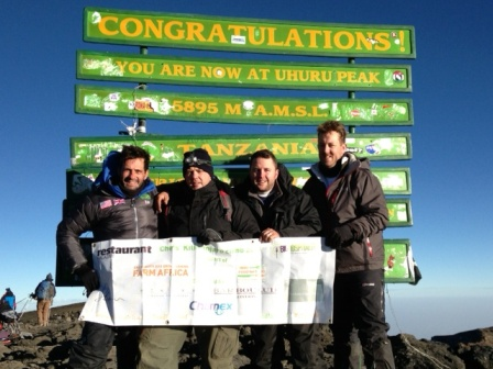 The team at the highest point in Africa. From l to r: Paulo de Tarso, John Freeman, Paul Foster, Ashley Palmer-Watts
