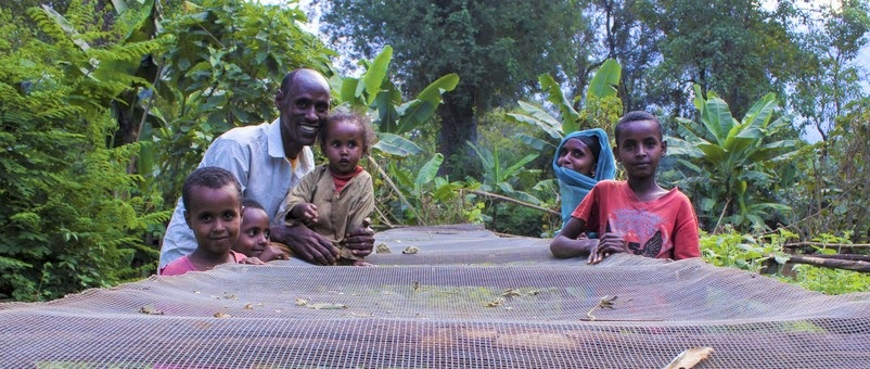Tahir and his family standing next to a wire mesh used for drying coffee. Photo by Lisa Murray.