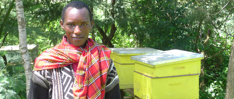 Martin Erro with top-bar beehives provided by Farm Africa to make honey.